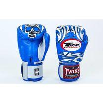 Боксерские перчатки Twins из натуральной кожи (FBGV-31-BUS, сине-серые)