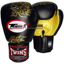 Боксерские перчатки Twins Dragon  кожаные (FBGV-6G, черно-золотые)