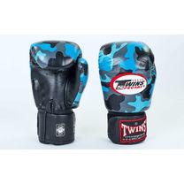 Боксерські рукавиці Twins із натуральної шкіри (FBGV-NB, синій камуфляж)