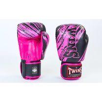 Боксерські рукавиці Twins із натуральної шкіри (FBGV-TW2-PK, чорно-рожеві)