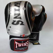 Боксерські рукавиці Twins із натуральної шкіри (FBGV-TW4-BKS, чорно-сірі)