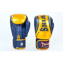 Боксерские перчатки Twins из натуральной кожи (FBGV-TW4-BUG, сине-желтые)