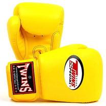 Боксерские кожаные перчатки Twins (BGVL-3, желтые)