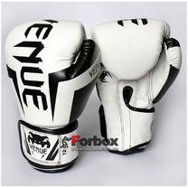 Боксерские перчатки Venum Elite на основе PU кожи (BO-5698-WH, белые)