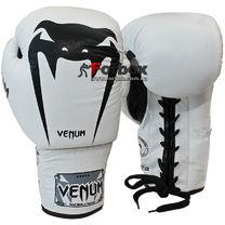 Перчатки боксерские Venum Giant на шнурках кожа (VL-5786-W, белые)