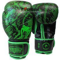 Боксерские перчатки Venum Fusion кожа (VL-5796-G, черно-зеленые)