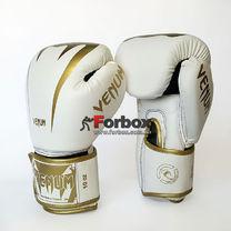 Боксерські рукавиці Venum Giant 2.0 на липучці з PU шкіри (BO-8349-WG, біло-золотий)