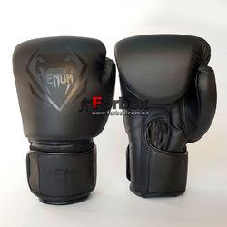 Боксерські рукавиці Venum Contender 2.0 на липучці з PU шкіри (BO-8351-BK, чорні)