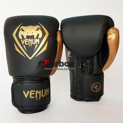 Боксерські рукавиці Venum Contender 2.0 на липучці з PU шкіри (BO-8351-BKG, чорно-золотий)