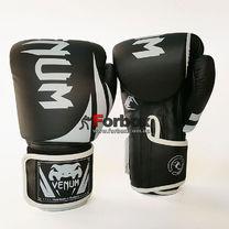 Боксерские перчатки Venum Challenger 2.0 на липучке из PU кожи (BO-8352-BKW, черно-белый)