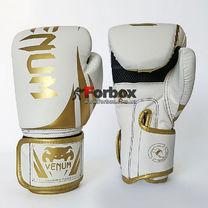 Боксерські рукавиці Venum на липучці з PU шкіри (BO-8352-W, біло-золотий)