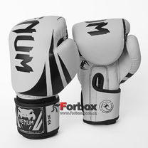 Боксерские перчатки Venum Challenger 2.0 на липучке из PU кожи (BO-8352-WBK, бело-черный)