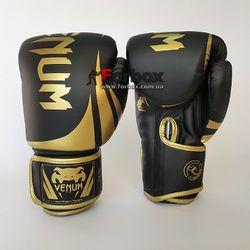 Боксерские перчатки Venum Challenger 2.0 на липучке из PU кожи (BO-8352-BKG, черно-золотой)