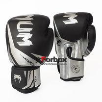 Боксерские перчатки Venum Challenger 3.0 на липучке из PU кожи (BO-0866-BKS, черно-серебристый)