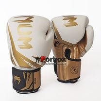 Боксерские перчатки Venum Challenger 3.0 на липучке из PU кожи (BO-0866-WG, бело-золотой)