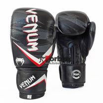 Перчатки боксерские Venum Impact кожаные на липучке (VL-2038-BKRW, черно-бело-красные)