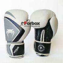Рукавички боксерські Venum Contender 2.0 натуральна шкіра (VL-8202-W, біло-сіро-чорний)