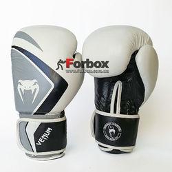 Перчатки боксерские Venum Contender 2.0 натуральная кожа (VL-8202-W, бело-серо-черный)