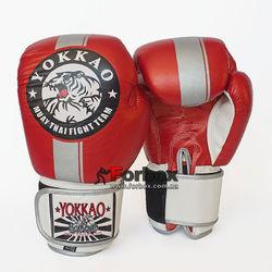 Рукавички боксерські Yokkao Fight Team шкіряні на липучці (YK016-R, червоно-білий)