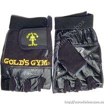 Рукавиці тренажерні Golds Gym для залу із шкіри (BC-3609, чорні)