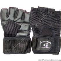 Тренажерные перчатки Serious Fitness для зала из кожи (BC-4098, черные)