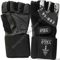 Тренажерные перчатки Velo для зала из кожи (VL-8118, черные)