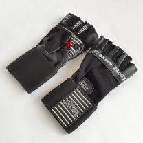 Рукавички для тренажерного залу Zelart з натуральної шкіри (ZB-8117, чорний)