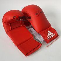 Перчатки для каратэ Adidas с лицензией WKF без большого пальца (661.22, красные)