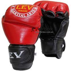 Перчатки для ММА М1 кожа Lev (1341-rd, красные)