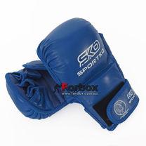 Рукопашные перчатки Sportko из натуральной кожи (ПК7, синие)