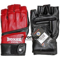 Перчатки снарядные Boxer кожа Микс файт (2018-03К, красные)