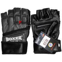 Перчатки снарядные Boxer кожа Микс файт (2018-03Ч, черные)