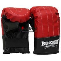 Снарядні рукавички Boxer тренувальні кожзам (2015-01К, червоні)