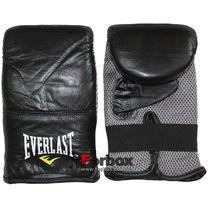 Снарядные перчатки (блинчики) Everlast натуральная кожа (MA-3645, черные)
