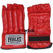 Шингарты Everlast снарядные перчатки с обрезанными пальцами кожа (VL-01044, красные)