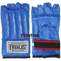Шингарты Everlast снарядные перчатки с обрезанными пальцами кожа (VL-01044, синие)