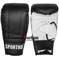 Снарядные перчатки SportKo кожвинил (1204-bk, черные)