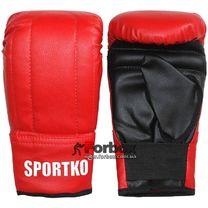 Снарядные перчатки SportKo кожвинил (1204-rd, красные)