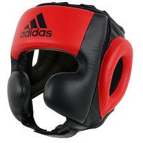 Шлем тренировочный кожаный Sparring HeadGuard Adidas (adibhg052, черно-красный)