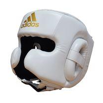 Шлем боксерский Adidas Speed Headguard без подбородка PU кожа (ADISBHG042W, белый)