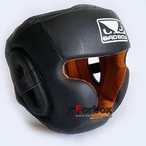 Шолом боксерський BAD BOY з повним захистом зі шкіри Black Edition (VL-6622, чорний)