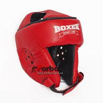 Шлем боксерский без бороды Boxer из кожи Элит (2029-01К, красный)