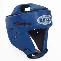 Шлем боксерский без бороды Boxer из кожи Элит (2029-01C, синий)