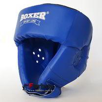 Шлем боксерский турнирный Boxer на шнурках серии Элит (2034-01С, синий)