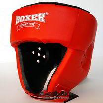 Шлем боксерский турнирный Boxer на шнурках серии Элит (2034-01К, красный)
