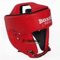 Шлем боксерский без бороды Boxer из кожвинила серии Элит  (2035-01К, красный)