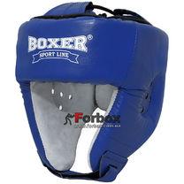 Шлем боксерский Boxer Элит с печатью ФБУ кожа (2031-01С, синий)