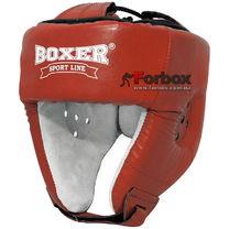 Шлем боксерский Boxer Элит с печатью ФБУ кожа (2031-01К, красный)