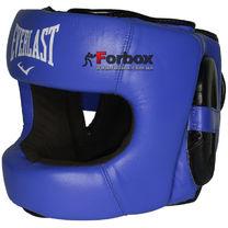 Шлем боксерский с бампером Everlast кожаный (BO-5240, синий)