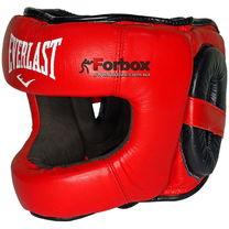 Шлем боксерский с бампером Everlast кожаный (BO-5240, красный)